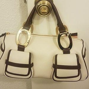 Antonio Melani Leather Two-tone handbag